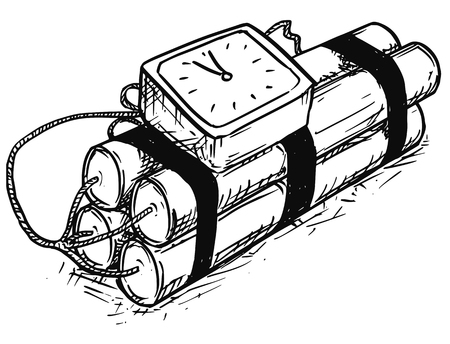 Vector cartoon of retro time bomb with analog alarm clock as timer