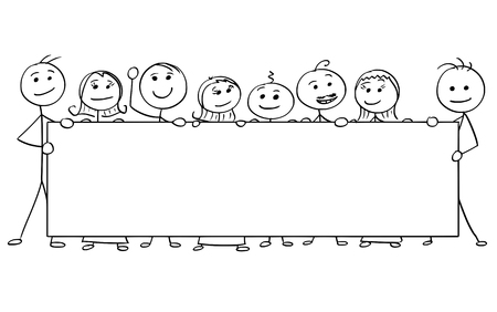 Cartoon vector stick man stickman drawing of eight smiling people holding a large empty sign.