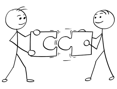 Cartoon vector stick man stickman drawing of two smiling men , each one holding a large jigsaw puzzle piece, trying to connect them together. Illustration