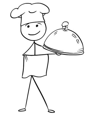 Cartoon vector stick man stickman drawing of male cook chef in chefs hat holding covered plate tray with food. Vectores