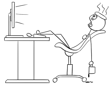 Cartoon vector stick man stickman drawing of man sitting exhausted tired in front of the computer with legs on the desk cooling his head with ice and coffee mug in his hand. Ilustração