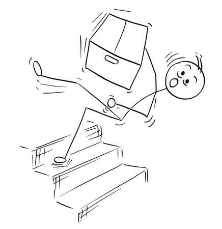 smiley: Cartoon vector stick man stickman drawing of man holding large paper box and falling from the top of the stairs stairway staircase Illustration