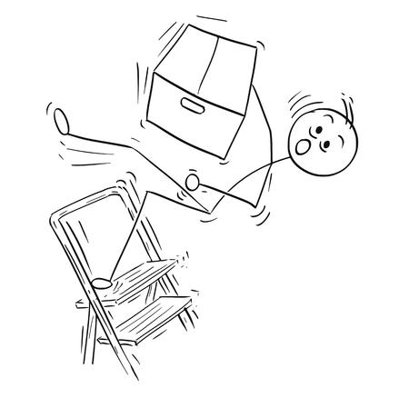 漫画ベクトル スティック男棒人間大紙箱を押しながら脚立はしごの上から落ちてくる男の描画します。
