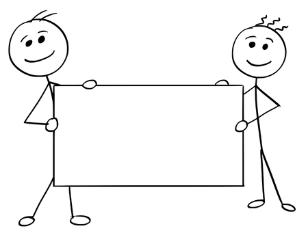 Cartoon vector stick man stickman drawing of two smiling men holding a large empty sign. Vector Illustration