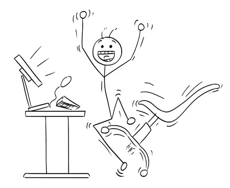 Cartoon vector stick man stickman drawing of happy man jumping in front of the desktop computer to celebrate a success . Office chair, keyboard and display are flying around.