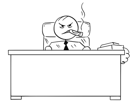 Cartoon vector stick man stickman drawing of business boss sitting behind office desk smoking big cigar