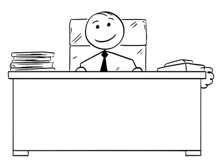 Cartoon vector stick man stickman drawing of happy boss smiling behind his office desk.