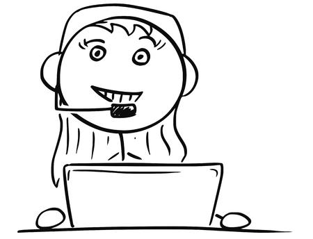Cartoon vector stick man stickman drawing of female Call Center Customer Support Service Representative Illustration