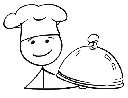 Cartoon vector stick man stickman drawing of male cook chef in chefs hat holding covered plate tray with food. Illustration