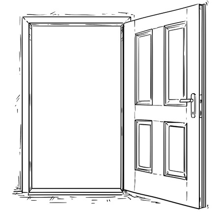 Vector cartoon of open elegant wooden door