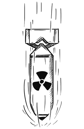 Vector cartoon of air bomb with nuclear atomic symbol sign falling
