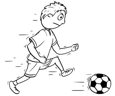 Hand drawing cartoon vector illustration of a boy playing Football Soccer with a ball. Illusztráció