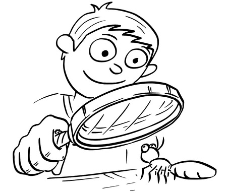 Cartoon hand drawing vector illustration of boy holding hand magnifying glass and looking at ant insect.