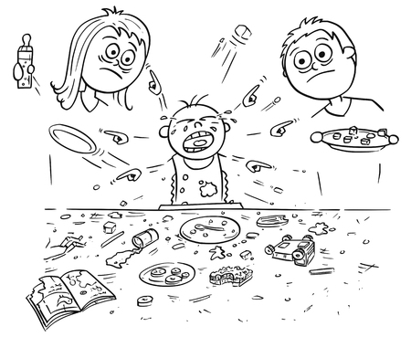 Hand drawing cartoon vector illustration of spoiled spoilt crying baby doing mess around during eating, pointing and demanding things all around. Unhappy parents - mother and father are standing behind.