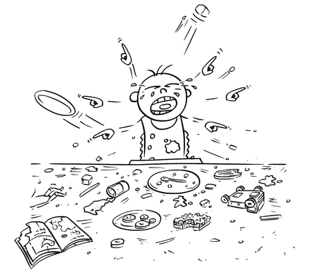 Hand drawing cartoon vector illustration of spoiled spoilt crying baby doing mess around during eating, pointing and demanding things all around.
