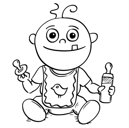 Hand  drawing cartoon vector illustration of happy smiling baby with dummy or pacifier or comforter and feeding or nursing or sucking bottle.
