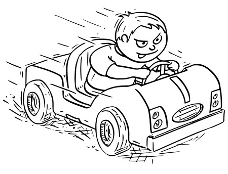 Hand drawing vector cartoon of a boy driving pedal or battery operated electric kids car.