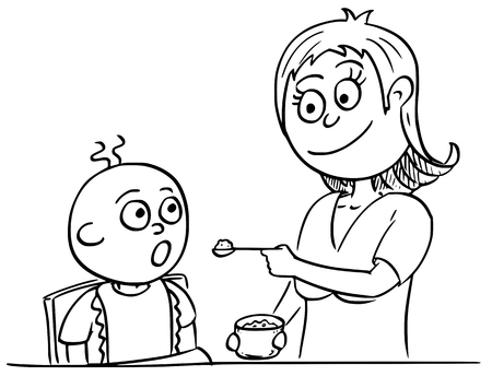 Hand drawing cartoon vector illustration of mother mom mum feeding baby with pap.
