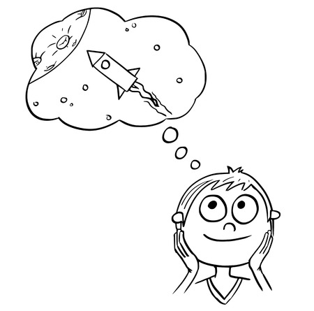 Hand  drawing cartoon vector illustration of boy dreaming about space ship travels or space exploration.