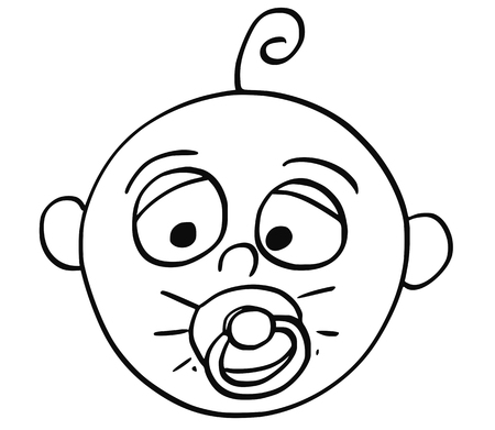 Hand drawing cartoon vector illustration of tired baby with dummy or comforter or pacifier in mouth.