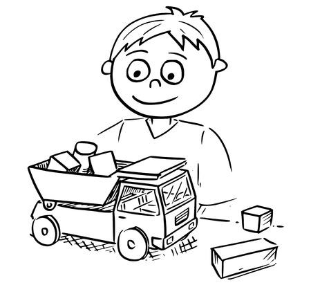 De tekenings vectorbeeldverhaal van de hand van een jongen die met stuk speelgoed vrachtwagenauto en houten stuk speelgoed bouwstenen speelt.