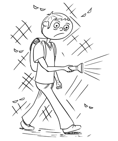 dangerous man: Hand drawing cartoon vector illustration of scary boy or young man holding flashlight torch walking through dark night.
