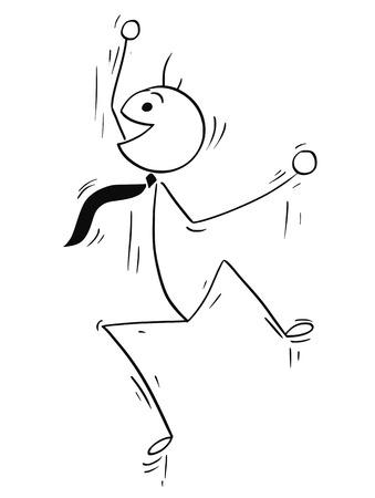 Cartoon vector stick man illustration of happy male businessman jumping. Stock Illustratie