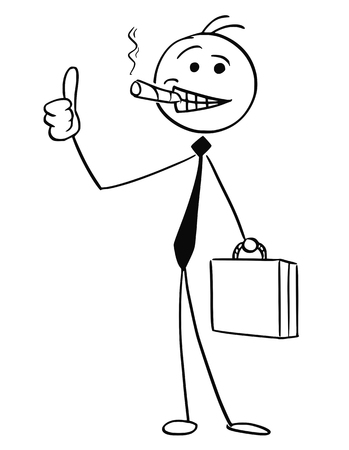 Cartoon vector stick man illustration of successful businessman or seller with big cigar and briefcase smiling and showing thumbs up gesture. Illustration