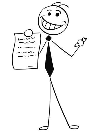 웃는 막대기 남자의 만화 벡터 일러스트 레이 션 사업가 또는 세일즈 맨 계약 또는 계약 용지를 서명합니다.