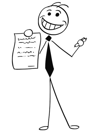 Cartoon vector illustration of smiling stick man businessman or salesman offering contract or agreement paper to signing.