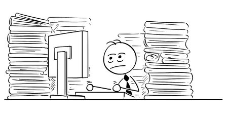 Cartoon illustration of unhappy tired stick man businessman, manager,clerk working on computer in office with files all around. Illustration