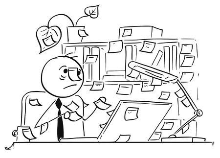 Cartoon vector illustration of forgetful stick man office worker,clerk businessman with paper stick notes everywhere around his office, table and computer, also on his head.