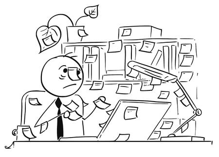 Ilustración vectorial de dibujos animados de olvidadizo palo hombre trabajador de oficina, secretario de negocios con notas de papel palo por todas partes alrededor de su oficina, mesa y equipo, también en su cabeza.