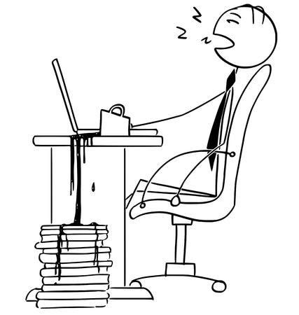 Cartoon vector illustration of tired stick man businessman office worker, manager sleeping in the chair on the office in front of the computer with cup of coffee toured out on files.