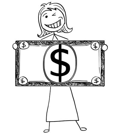행복 한 미소 스틱 사업가, 관리자, 여성 점원 또는 정치인 큰 달러 지폐 또는 지폐와 함께 포즈의 만화 그림