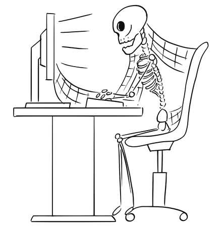 Beeldverhaal vectorillustratie van vergeten menselijk skelet van volkomen zakenman of bediendezitting voor computer in bureau met rond rond spinnewebben.
