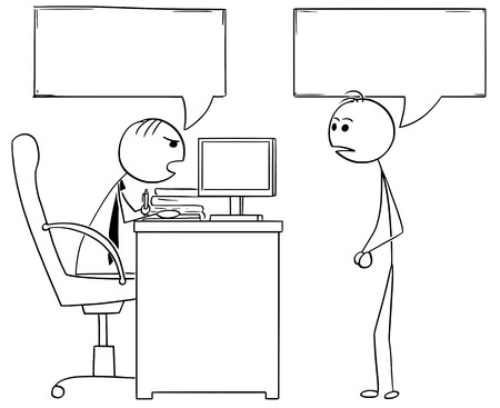 Cartoon illustration of stick man manager boss sitting in his office and talking to male employee.Two empty speech bubbles or balloons above their heads.