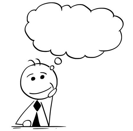 Beeldverhaalillustratie van het glimlachen van de zakenmanmanager van de stokmens of zakenman of politicus die hard met lege toespraakbel of ballon denken boven zijn hoofd.