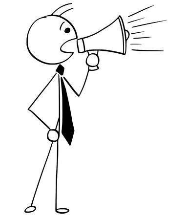 Cartoon illustration of stick man businessman, manager, clerk or politician talking with megaphone.