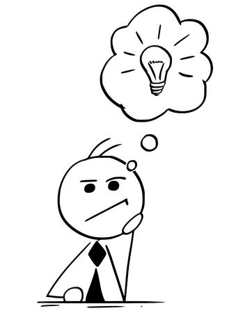 Karikaturillustration des Stockmanngeschäftsmann-Managers oder des Geschäftsmannes oder des Politiker, die stark mit Glühlampe in der Sprechblase oder im Ballon über seinem Kopf denken.