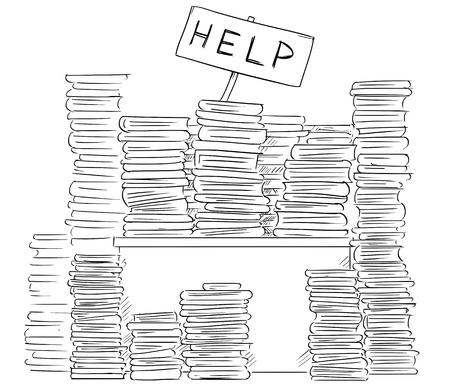 Bande dessinée illustration d'homme d'affaires, employé de bureau ou gestionnaire homme bâton perdu derrière des dossiers de son bureau sur son bureau en agitant avec le signe de l'aide. Vecteurs