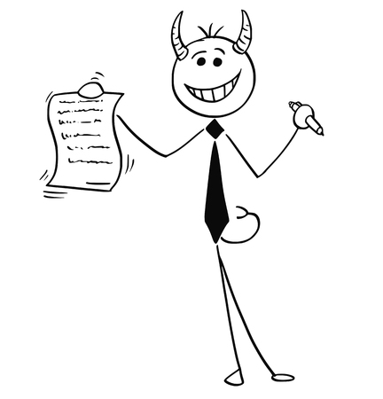 signing: Cartoon vector illustration of smiling stick man devil businessman or salesman offering contract or agreement paper to signing.