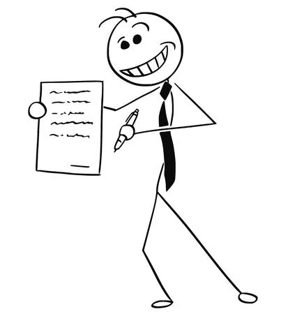 Cartoon vector illustration of sleazy smiling stick man businessman or salesman offering contract or agreement paper to signing. Illustration
