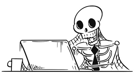 Cartoon vector illustration of forgotten human skeleton of dead businessman or clerk sitting in front of computer with spider webs all around. Illustration
