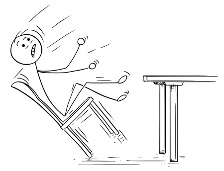 Cartoon vector illustration of  stick man rocking and falling with chair from table. 向量圖像