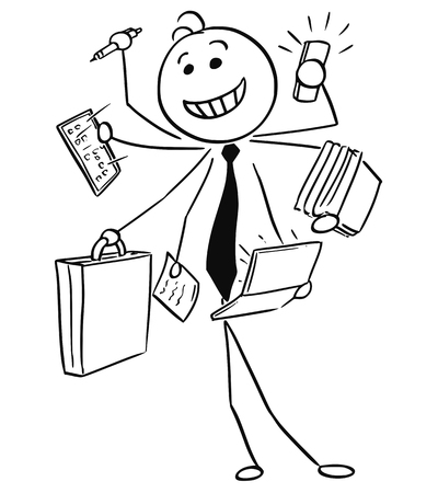 Cartoon vector stick man illustration of successful happy smiling businessman or seller working on many tasks in same time, conceptual idea of man with seven arms. Illustration