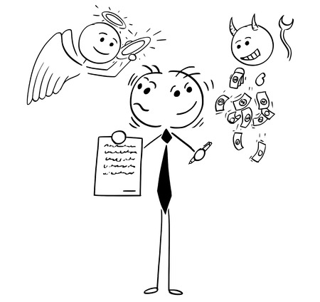 Cartoon illustration of stick man businessman or salesman offering contract or agreement and deciding between angel and devil as conceptual idea of being good or bad person or human being.