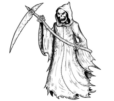 Dé el ejemplo del dibujo del parca de Halloween, esqueleto humano con la guadaña, personificación de la muerte.