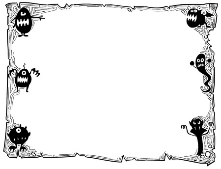 Hand drawing cartoon Halloween frame scroll sheet of parchment with monster silhouettes illustrations.