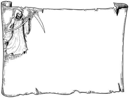 Handzeichnung Cartoon Halloween Frame Scroll Blatt Pergament mit Sensenmann Illustrationen. Standard-Bild - 85215801